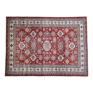 Hand-Knotted Wool Tribal Kazak Rug- 8′10″ × 12′ For Sale