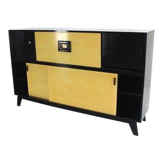 Mid Century Modern Credenza Black Lacquer Gredenza Bar Liquor Cabinet