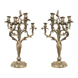 French Louis XV Silver Plate Candelabras - a Pair For Sale