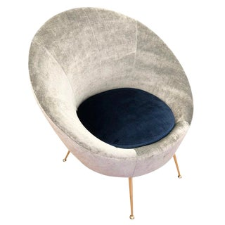 Italian Mid-Century Round Velvet Lounge Chair For Sale