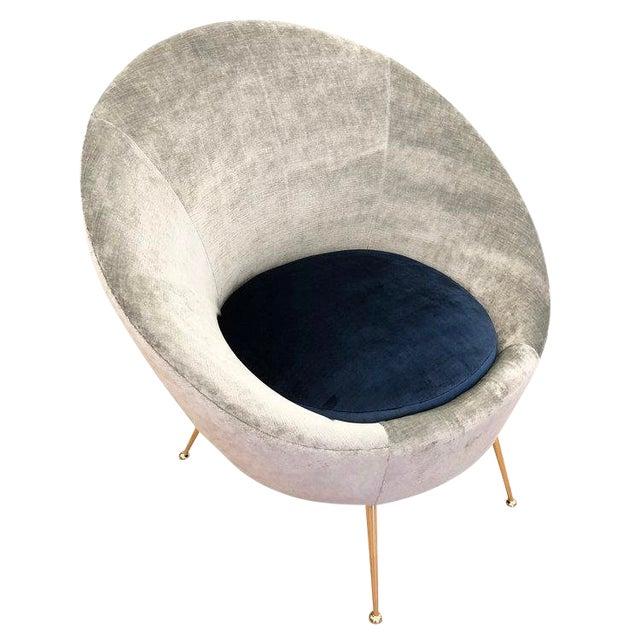 Italian Mid-Century Round Velvet Lounge Chair For Sale