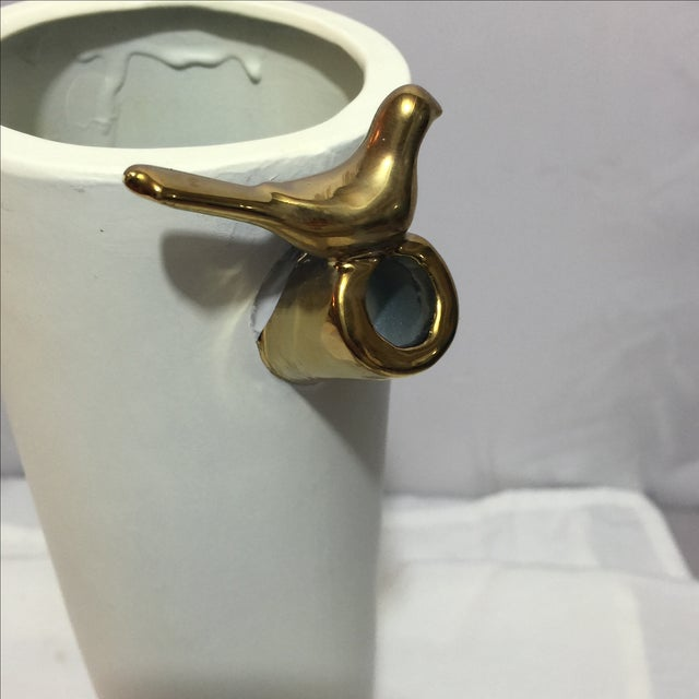 Modern Bamboo Branch Vase with Gold Bird - Image 3 of 4