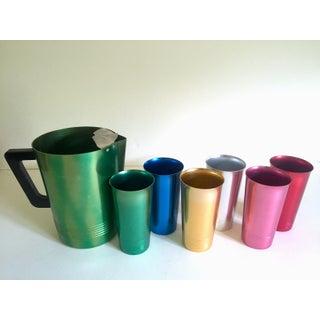 Vintage Mid Century Modern Rare Anodized Spun Aluminum Multicolor Beverage Set - 7Pc Preview