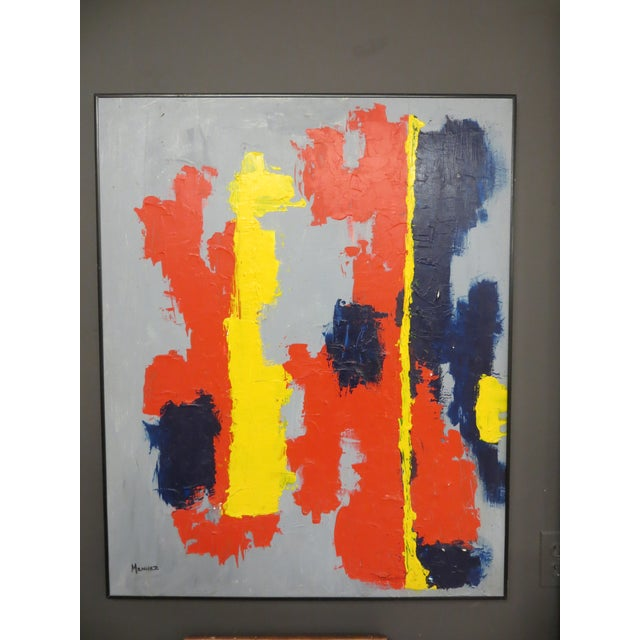 """Vibrantly colored abstract from 1988 painted by Douglas ( Barry ) Menuez. Signed """" Menuez """" on lower right-hand-side of..."""