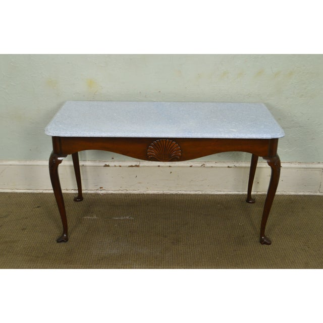 Kittinger Colonial Williamsburg Cwiss Mahogany Marble Top Mixing Table Console For Sale - Image 12 of 13