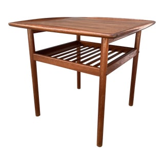 Danish Grete Jalk Slatted Shelf + Raised Turned Edge Square Side Table For Sale