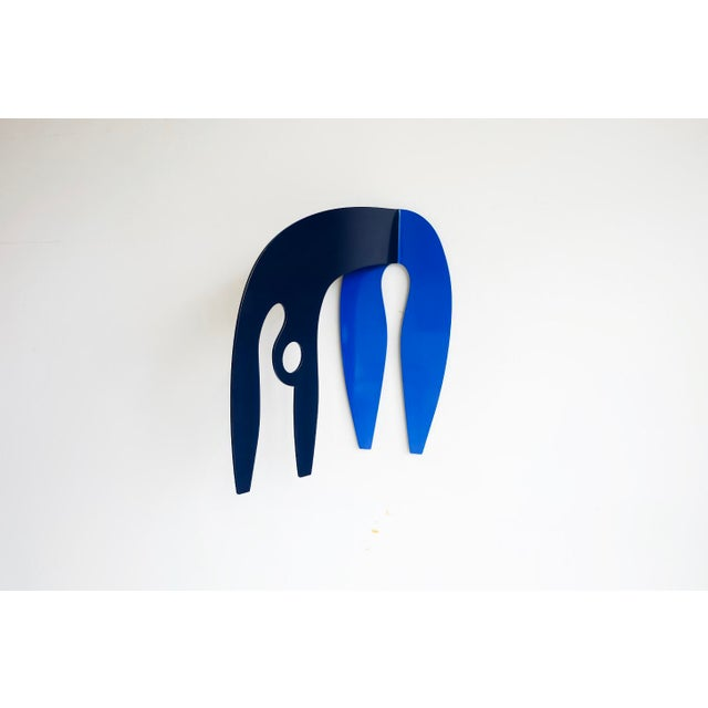 "Ink Blue ""Bow Before Me"" Stainless Steel Wall Sculpture For Sale - Image 8 of 8"