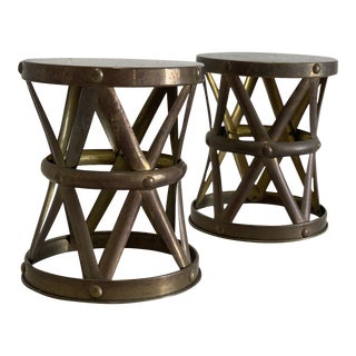 Pair of Vintage Brass Drum Footstool Stool Small Table For Sale