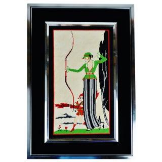 Vintage Framed Art Deco Style Female Archer Needlepoint Artwork For Sale