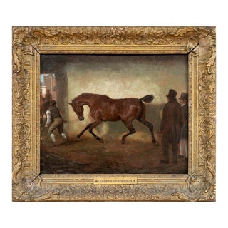 """Horse Portrait Early 19th Century """"Bay Horse Being Led Out of a Barn"""" Charles Cooper Henderson For Sale"""