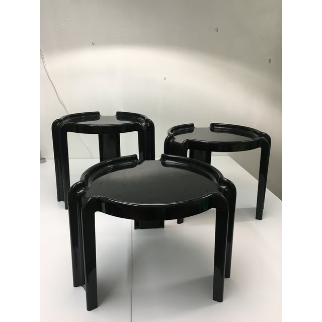 Vintage Black Plastic Nesting Tables by Giotto Stoppino for Kartell - Set of 3 For Sale - Image 13 of 13