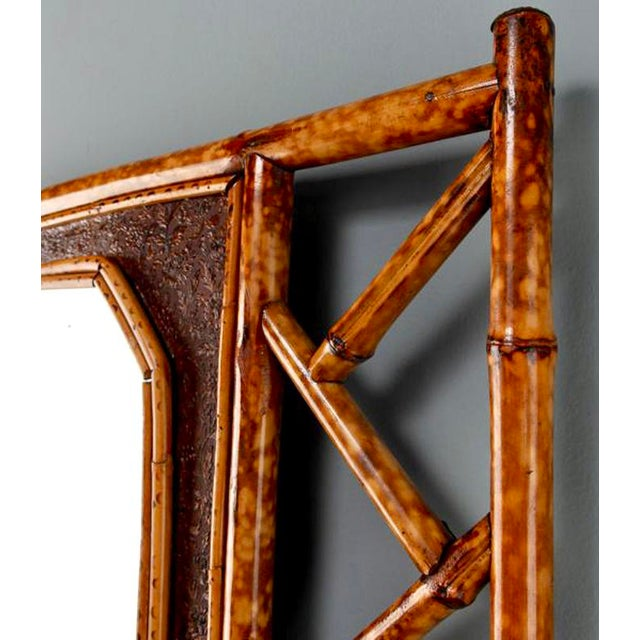 Vintage Wall Mirror With Bamboo and Leather Frame - Image 4 of 5