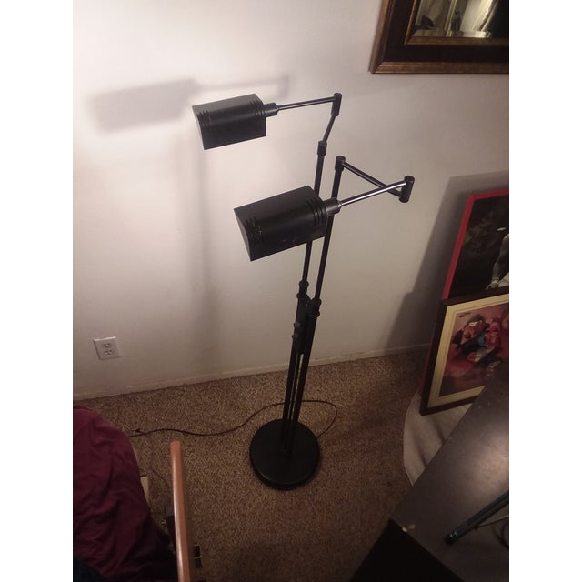 1980's Mid-Century Modern LIte Source Two Arm Floor Lamp For Sale In San Diego - Image 6 of 9