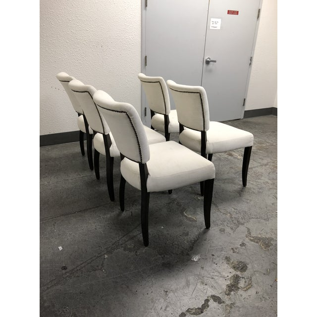 2010s Set of Five Restoration Hardware Adèle Fabric Side Chairs For Sale - Image 5 of 13