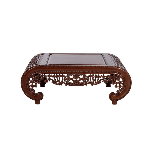 Wooden Carved Chinese Design Coffee Table - Image 1 of 2