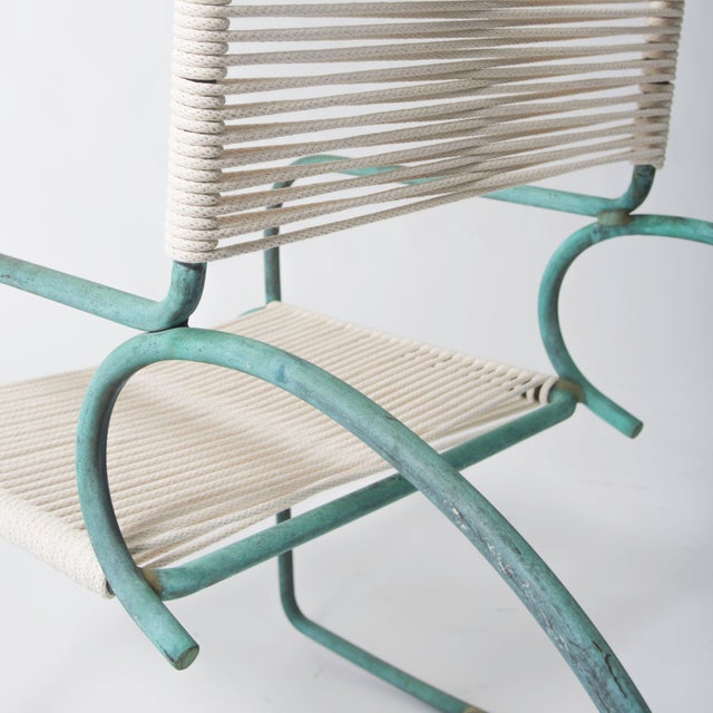 Single Walter Lamb Bronze and Rope Patio Rocking Chair - Image 5 of 5