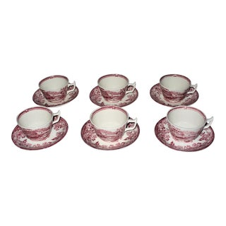 Alfred Meakin Tonquin Pattern Red Cups and Saucers by Stafforshire England - Set of 6 For Sale