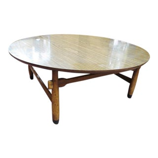 1960s Mid Century Modern Lane Walnut Round Coffee Table For Sale