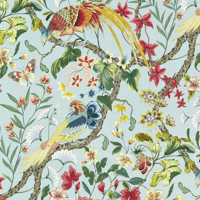 Scalamandre Botany Bay Fabric in Sky Sample For Sale