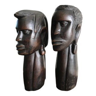 1980s Masai Hand Carved Busts - a Pair For Sale