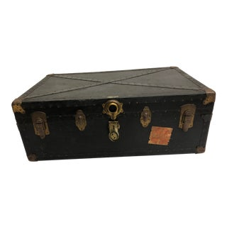 Vintage Industrial Wood Steamer Trunk, Low Profile For Coffee Table For Sale