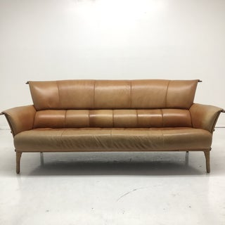 1990s Vintage Pacific Green Cognac Leather Navajo Palm Wood Sofa Preview