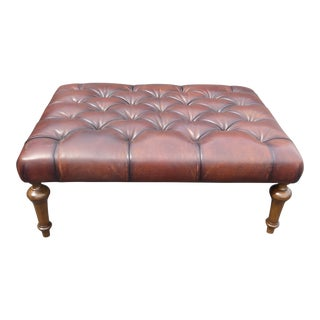 Vintage Tufted Brown Leather Ottoman