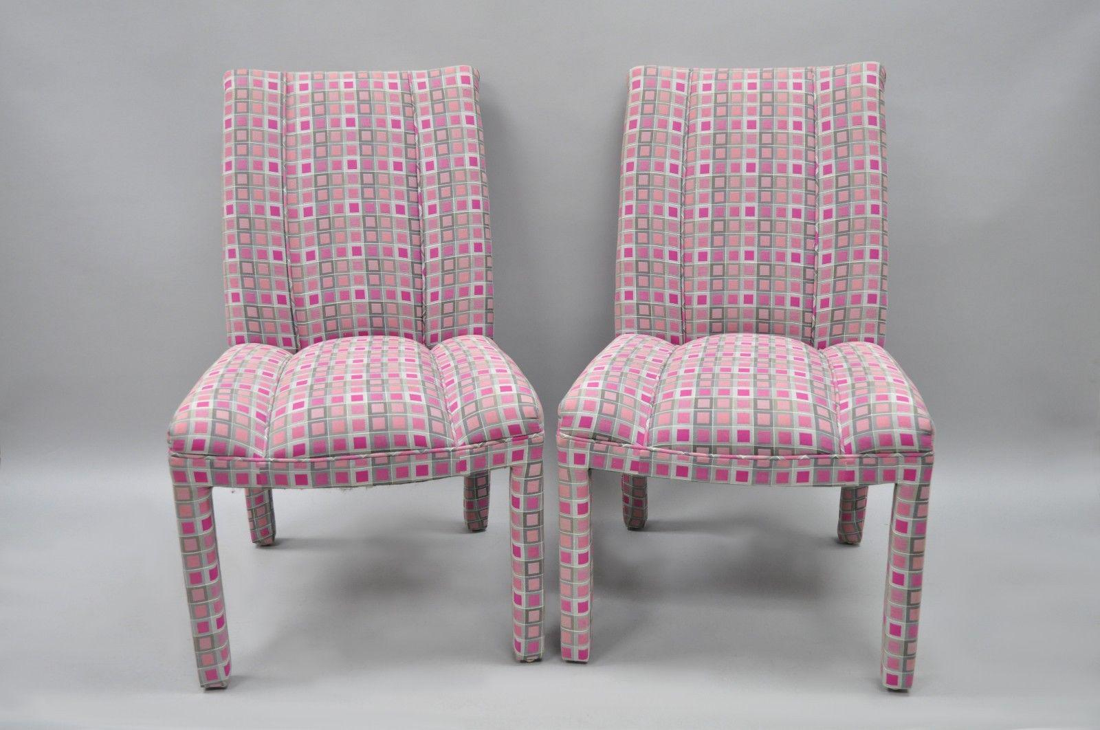 Upholstered Parsons Style Hollywood Regency Pink U0026 Silver Dining Chairs    Set Of 6