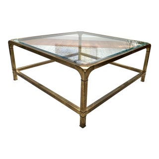 1970s Hollywood Regency Mastercraft Brass and Glass Square Cocktail Table For Sale