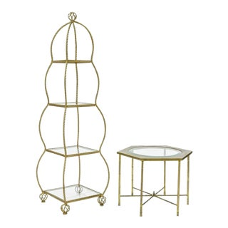 Mastercraft Gilt Rope Etagere & Table - A Pair