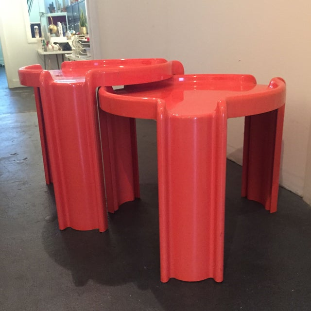Red Nesting Side Tables - A Pair - Image 3 of 6