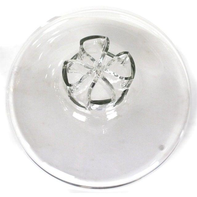 Italian Barbini Four Leaf Clover Murano Glass Flower Vase For Sale - Image 3 of 6