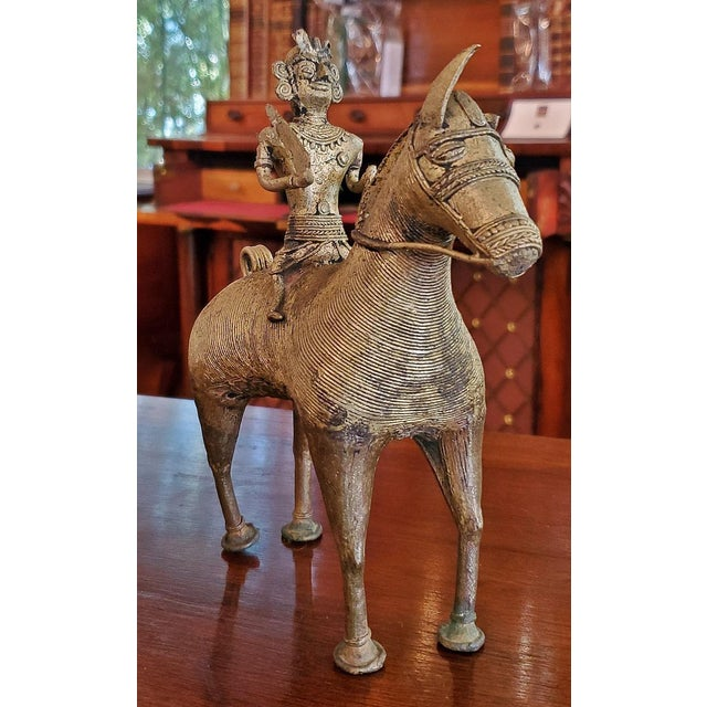 Asian Antique Indian Dhokra Horse and Rider Sculpture For Sale - Image 3 of 11