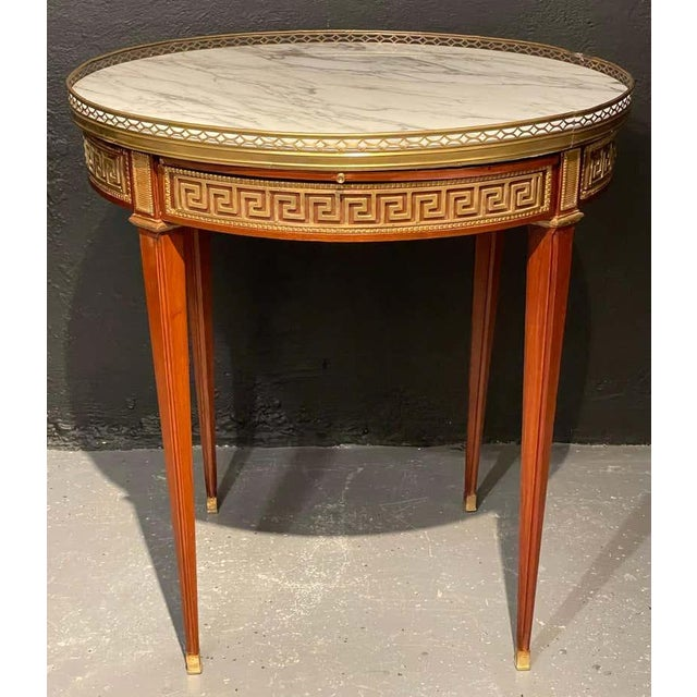 Brown Pair of Marble Top Greek Key Bouillotte or End Tables, Manner of Jansen For Sale - Image 8 of 11