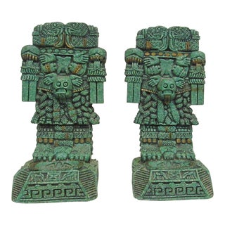 Mexican Malachite Stone Resin Bookends - a Pair