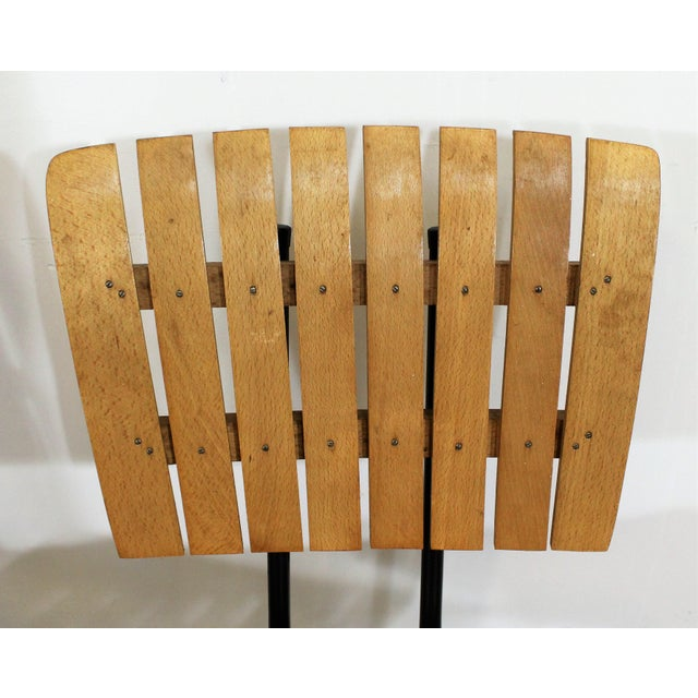 Metal Set of 3 Mid-Century Danish Modern Arthur Umanoff Style Swivel Slat Bar Stools For Sale - Image 7 of 11