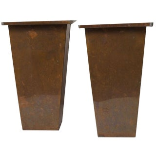 Galvanized Metal Planters - a Pair