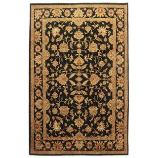 Hand Knotted Wool Indian Rug - 5′11″ × 7′11″ For Sale