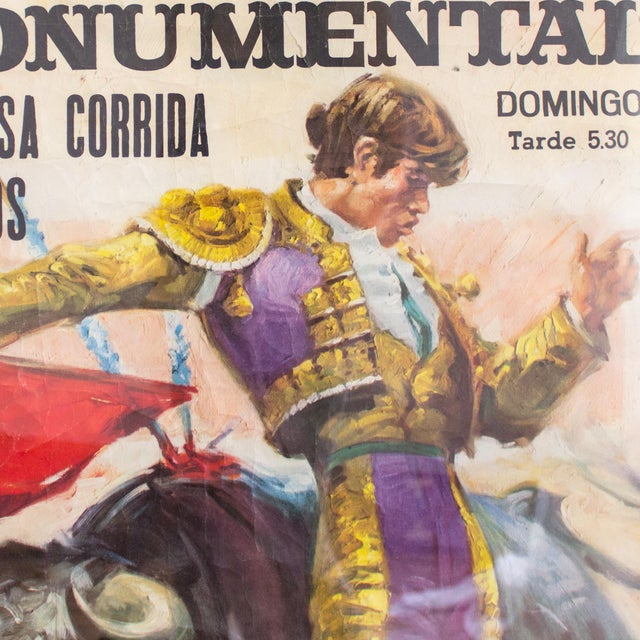 Vintage bullfighting poster printed in Spain and dated 1970 features an active, classic bullfighting pose to advertise the...