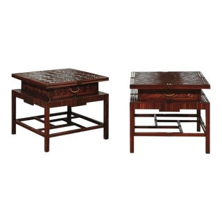 Radiant Pair of Vintage Mahogany and Rattan Herringbone Pagoda Tables For Sale