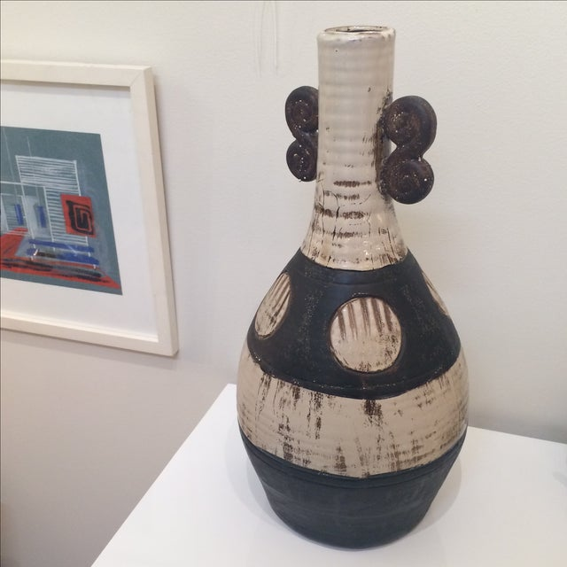 Mid Century Brown & Cream Ceramic Vase - Image 2 of 7