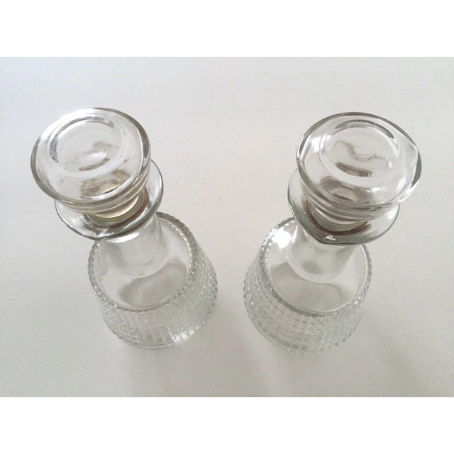 Vintage Mid Century Modern Square Cut Glass Decanters - a Pair For Sale - Image 5 of 8