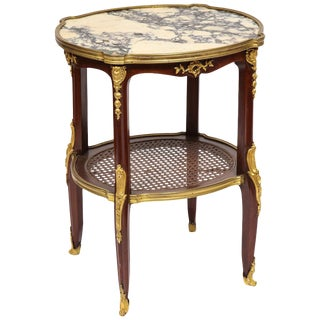 Louis XV Style French Ormolu-Mounted Mahogany Table With Marble Top, Circa 1880 For Sale