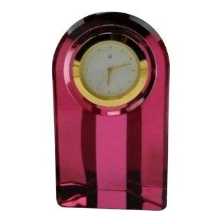 Vintage Pink Triangular Cut Crystal Japanese Desk Clock For Sale
