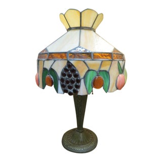 1930s Vintage Slag Glass Table Lamp For Sale