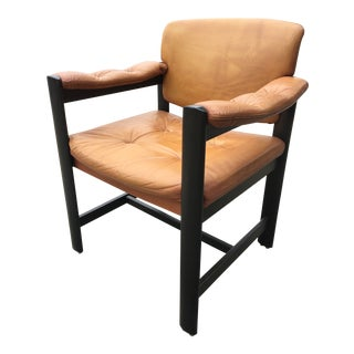 1970s Scandinavian Modern Ulferts of Sweden Tan Leather Arm Chair For Sale