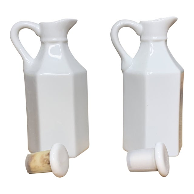 Vintage White Condiment Jars - a Pair For Sale