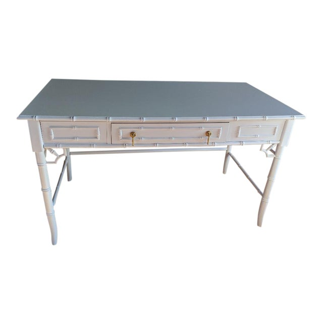 1970s Hollywood Regency Thomasville Allegro Faux Bamboo White Desk For Sale