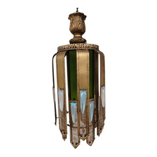 Mid-Century Modern Hollywood Regency Gold Metal and Green Glass Chandelier For Sale