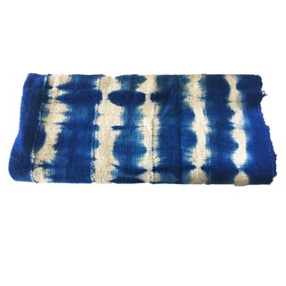 African Bogolan Textile Mud Cloth Blue & White For Sale